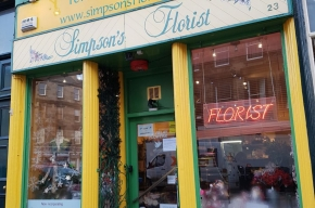 Simpsons florist facade - Valentine's Day in Edinburgh