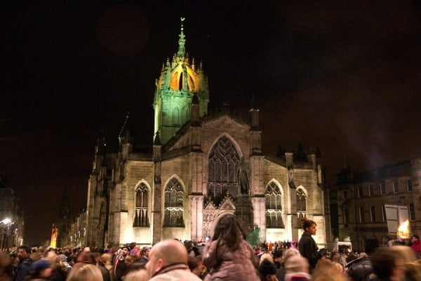 """CRW_2837"" by Tom Page, depicting St Giles' Cathedral at the Samhuinn Fire Festival 2008"