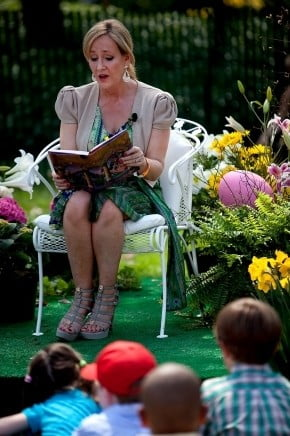 Author J.K. Rowling reading Harry Potter and the Sorcerer's Stone at the Easter Egg Roll in April 2014, hosted at the White House.