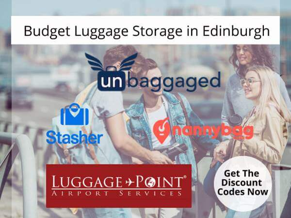 Budget luggage storage in Edinburgh. Best tips and voucher code to left luggage in Edinburgh.
